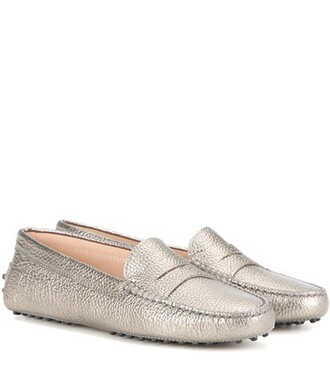 metallic loafers leather gold shoes