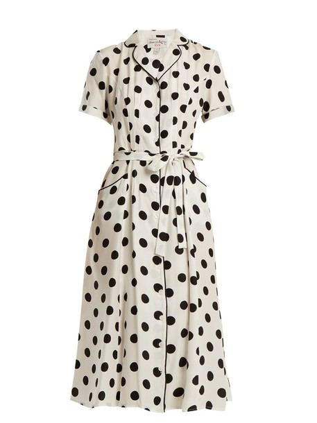 dress silk dress print silk white black