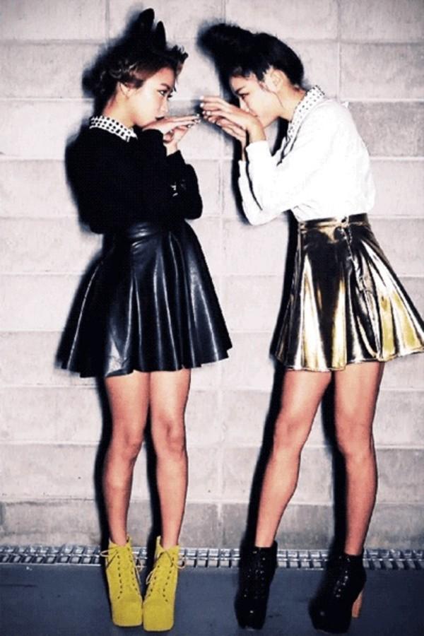 skirt black gold metallic