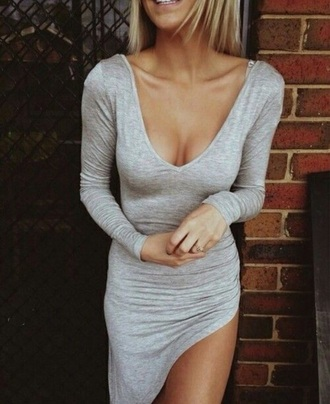 grey dress grey long sleeve dress asymmetrical dress sexy dress cute dress asymmetrical v neck dress dress summer dress open leg dress maxi dress grey long sleeve slit dress clothes casual trendy long sleeves hot fashion style rose wholesale-feb girly girl girly wishlist