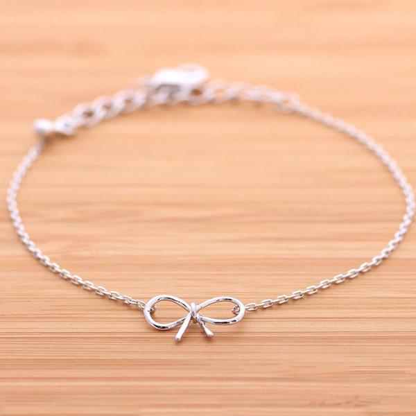 Sterling Silver Bow Bracelet Simple Minimalist Jewelry ...