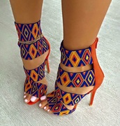 pattern,orange,blue,multicolor,heels,high heels,strappy heels,colorful,yellow,shoes,african print,african style,colorful shoes,sandal heels,print,tribal pattern,high heel sandals,cute,african cultural,beaded look,multi color,navy,brown,tan,details on fleek,sexy heel shoes,orange and blue multicolor,orange blue yellow,sweet,love,girly,bold,cute patterns,boho,boho chic