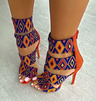 pattern orange blue multicolor heels high heels strappy heels colorful yellow shoes african print african style colorful shoes sandal heels print tribal pattern high heel sandals cute african cultural beaded look multi color navy brown tan details on fleek sexy heel shoes orange and blue multicolor orange blue yellow sweet love girly bold cute patterns boho boho chic