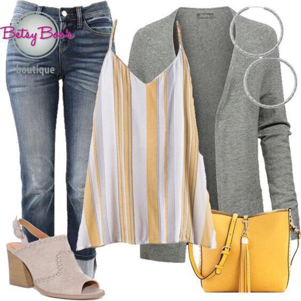 b948edd7fd04c blouse stripes mustard cardigan denim shoes jewelry earrings handbag purse  women fashion style chic ootd ootn