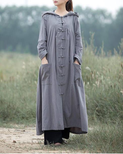 dress hooded long sleeved dress