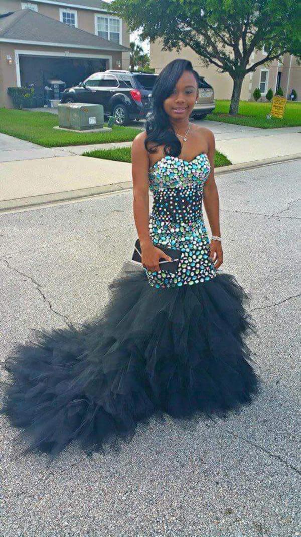 Dress: jewels, emerald green, black long prom dress, prom dress ...