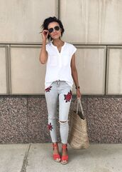 jeans,white top,floral patch jeans,red heels,blogger,sunglasses