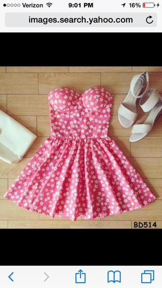 pink flowers floral dress pink dress bustier dress