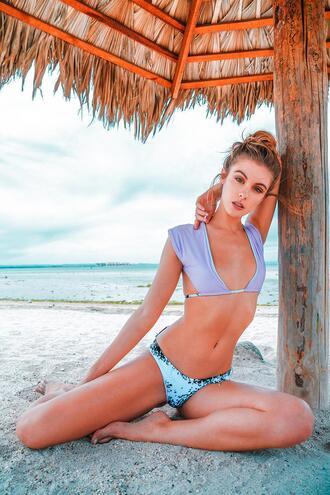 swimwear revel rey bikini bikini top print reversible purple blue tassel