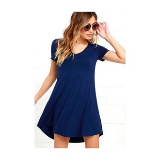 dress pockets cotton blue blue dress