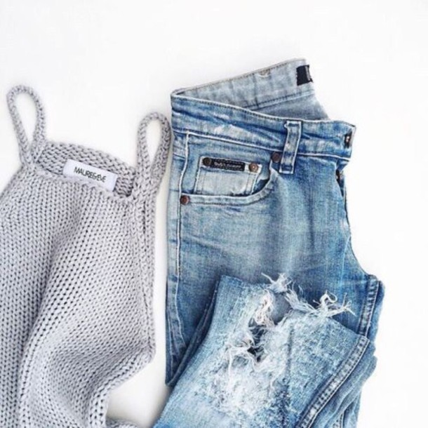 Tank top grey crop top knitted crop top ripped jeans ...