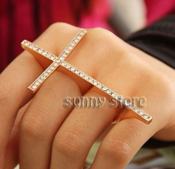 jewels cross ring diamonds
