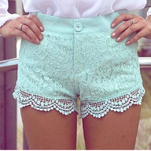 Shorts: cute, mint, summer, lace, colorful shorts, floral, floral ...