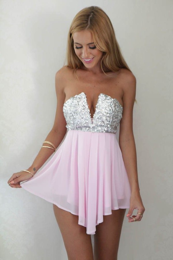 Light Pink and Silver Sequin Deep V Mini Dress