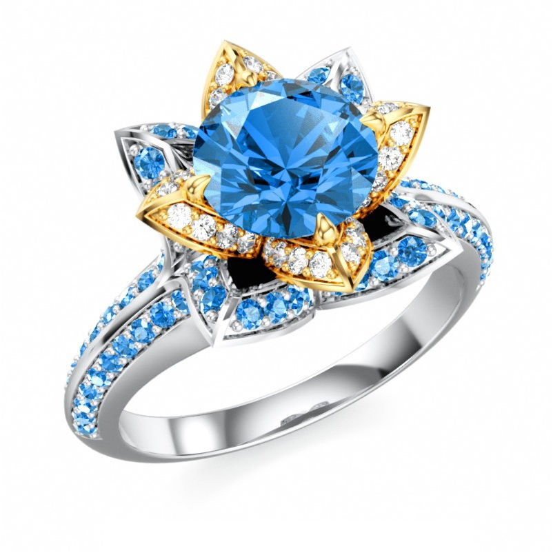 Women's 925 silver disney princess blue & white cz solitaire with accents ring
