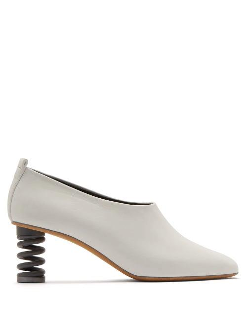 Gray Matters - Molla Spring Heel Leather Pumps - Womens - White Slate Gray