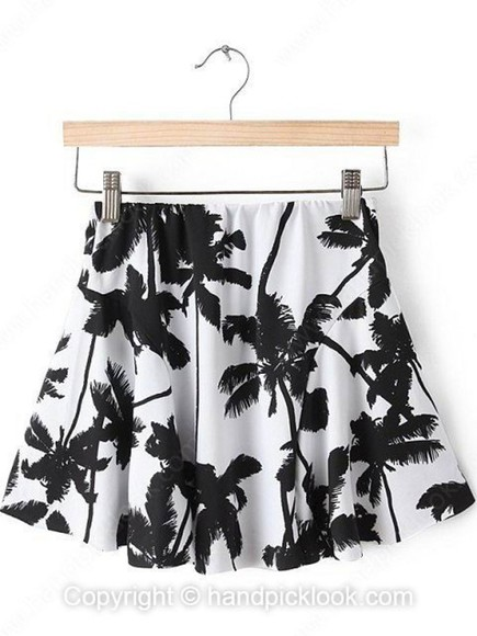 skirt black skirt black skater skirt black skater skirt black and white skater pleated skirt pleated white black and white skirt white skirt white skirts white skater skirt palm tree print palm tree skirt
