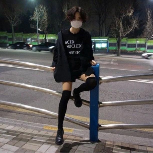 Shirt Asian Grunge T Shirt Emo Goth Acid Wash Black