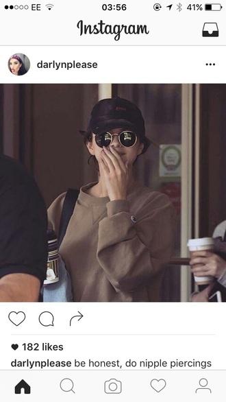 sweater selena gomez beige beige sweater round sunglasses