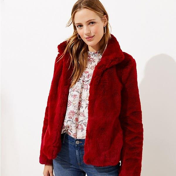 LOFT Faux Fur Funnel Neck Jacket