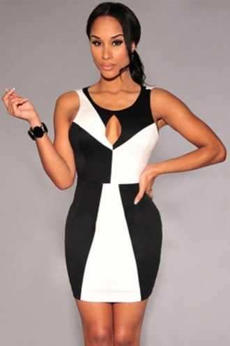dress mini wots-hot-right-now mini dress black and white sexy sexy dress colour block sleeveless