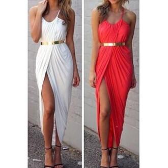 leg slits maxi dress maxi gold belt gold belt dress dress red dress white dress white red dress with slit