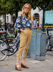 shirt,stockholm fashion week,floral,floral shirt,streetstyle,pants,nude pants,cropped pants,shoes,brown shoes,sunglasses