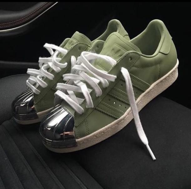 adidas superstar slip on army green