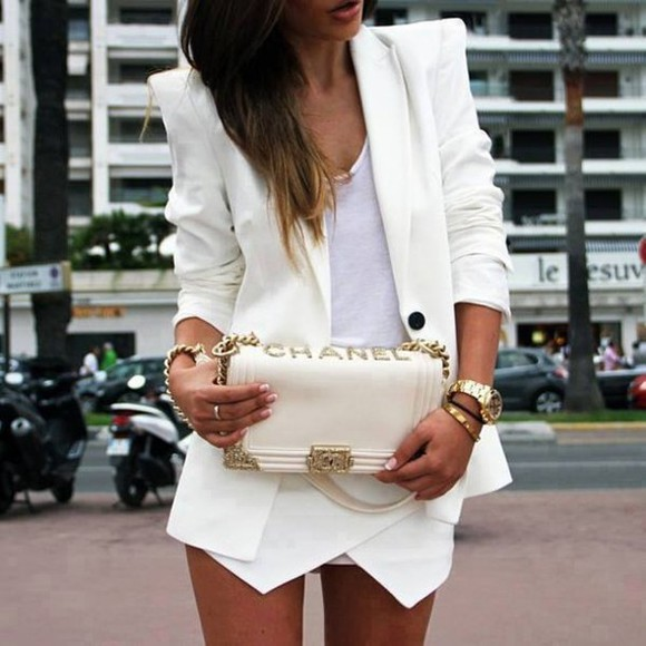 jacket white blazer white jacket blazer pointy shoulder pads chanel ad chanel handbag asymmetrical shorts chanel skirt