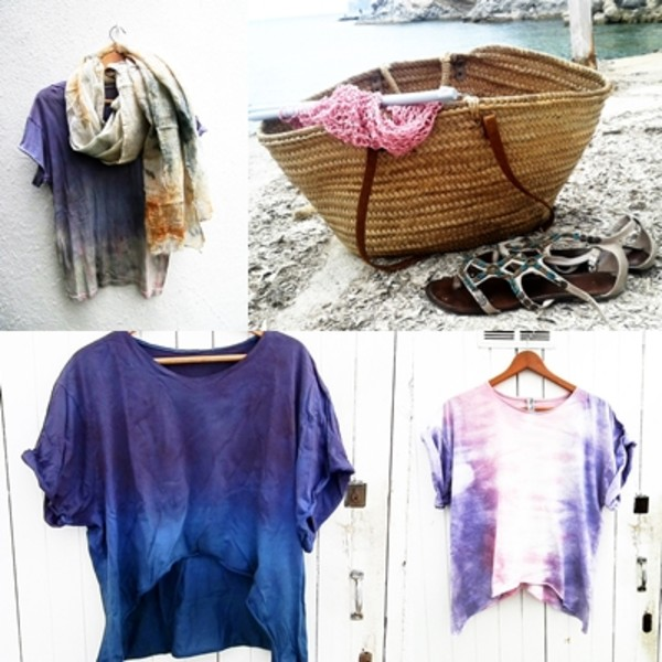 blouse women summer outfits clothes tie dye t-shirt floral sheer flowy
