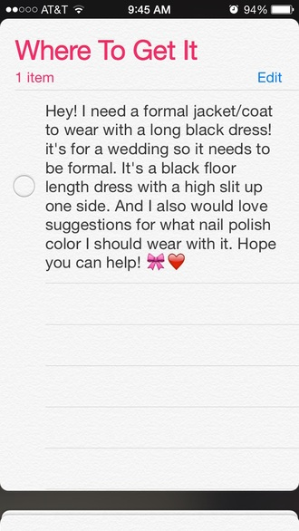 coat black formal event outfit formal wedding clothes nail polish wedding black dress formal dress style me