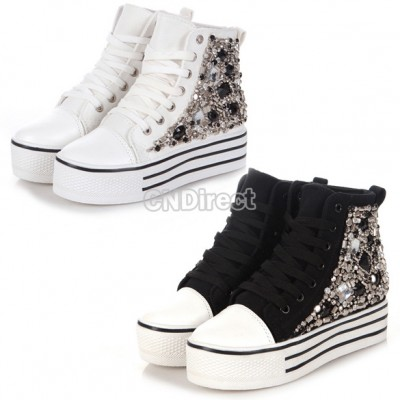 New Women's High Rise Sneakers Crystal Lace up Platform Heel Boots Preppy Pumps Black/White