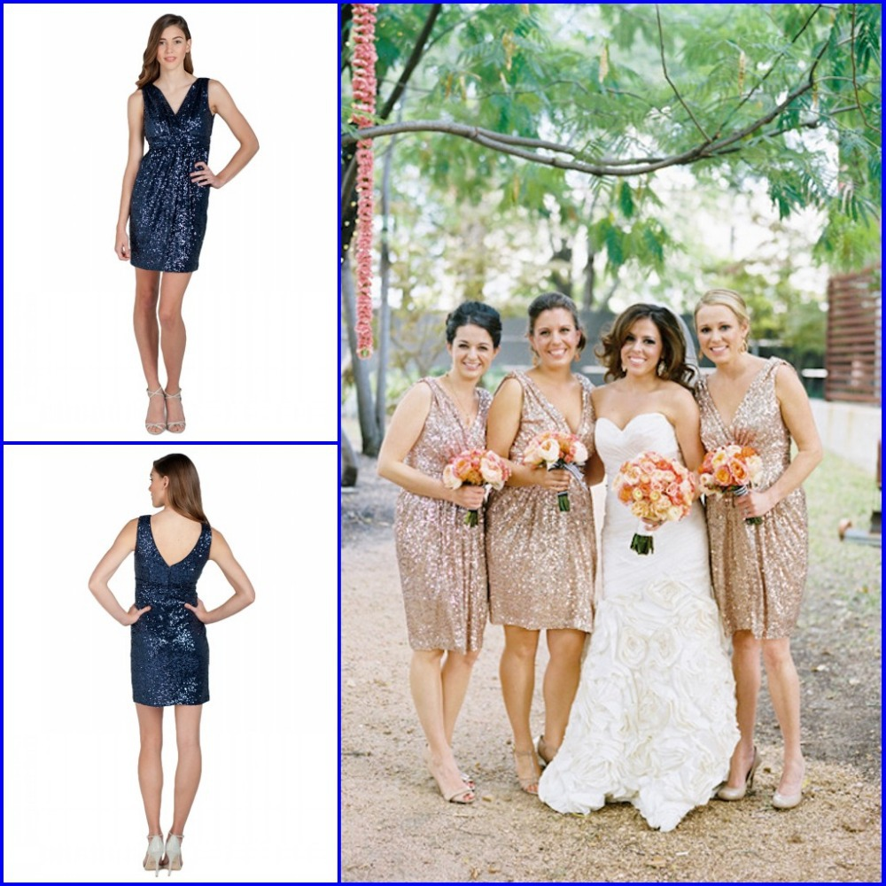 Aliexpress buy vestido de festa 2015 new arrive v neck glitz aliexpress buy vestido de festa 2015 new arrive v neck glitz gold sequined knee length bridesmaid dresses short prom gowns wedding party dress from ombrellifo Image collections