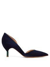 heel,suede pumps,pumps,navy,suede,shoes