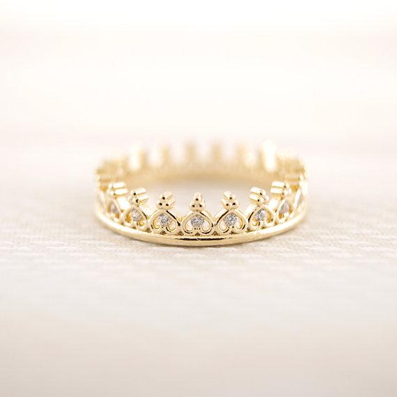 Gold/ pinkgold  cz crown ring von bkandjio auf etsy