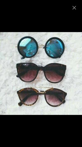 sunglasses brown blue mirrored sunglasses round sunglasses tumblr trendy black white mirror summer beach round frame glasses accessories girly