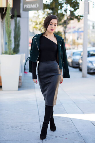 skirt tumblr pencil skirt midi skirt black skirt black leather skirt leather skirt top black top one shoulder jacket green jacket boots black boots fall outfits dark green jacket off shoulder black shirt black booties blogger