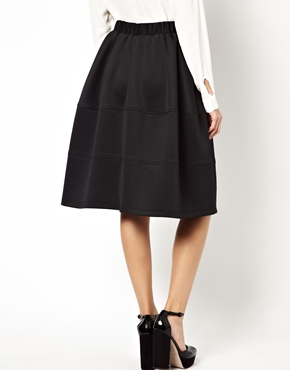 ASOS | ASOS Full Midi Skirt in Scuba with Tiered Seam Detail at ASOS