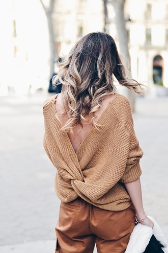 sweater tumblr beige sweater open back backless sweater backless pants nude pants leather pants ombre hair monochrome outfit