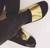 shoes,gold,gold metallic plate,gold plated,slippers,slip on shoes,flat sandals,leather,black,gold details,summer,slide shoes,socks and sandals,chic,ASAP Rocky,metallic slides,gold shoes,summer shoes,flat metallic slides,metallic shoes,dope