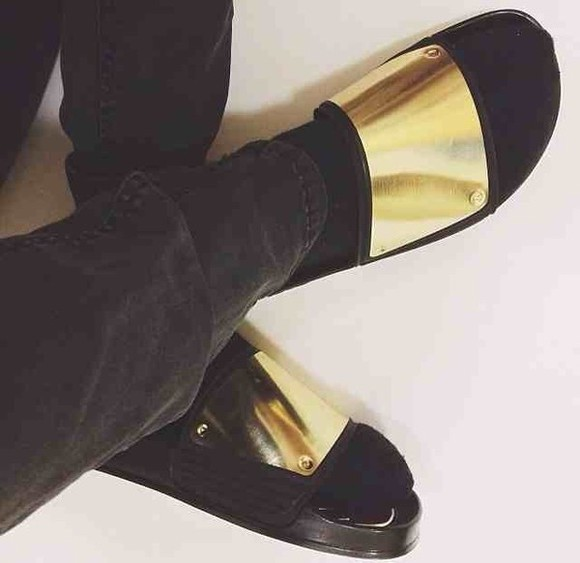 shoes gold gold metallic plate gold plated slippers slip on flat sandals leather black gold details summer slides socks and sandals chic nicole richie asap rocky kanye west