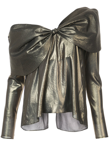 Johanna Ortiz blouse bow women grey metallic top