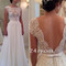 A-line round neckline chiffon lace long wedding dresses, wedding gown - 24prom