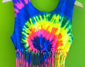 Beaded TieDye Crop Top with GlowintheDark Beads by CosmicUnicornz