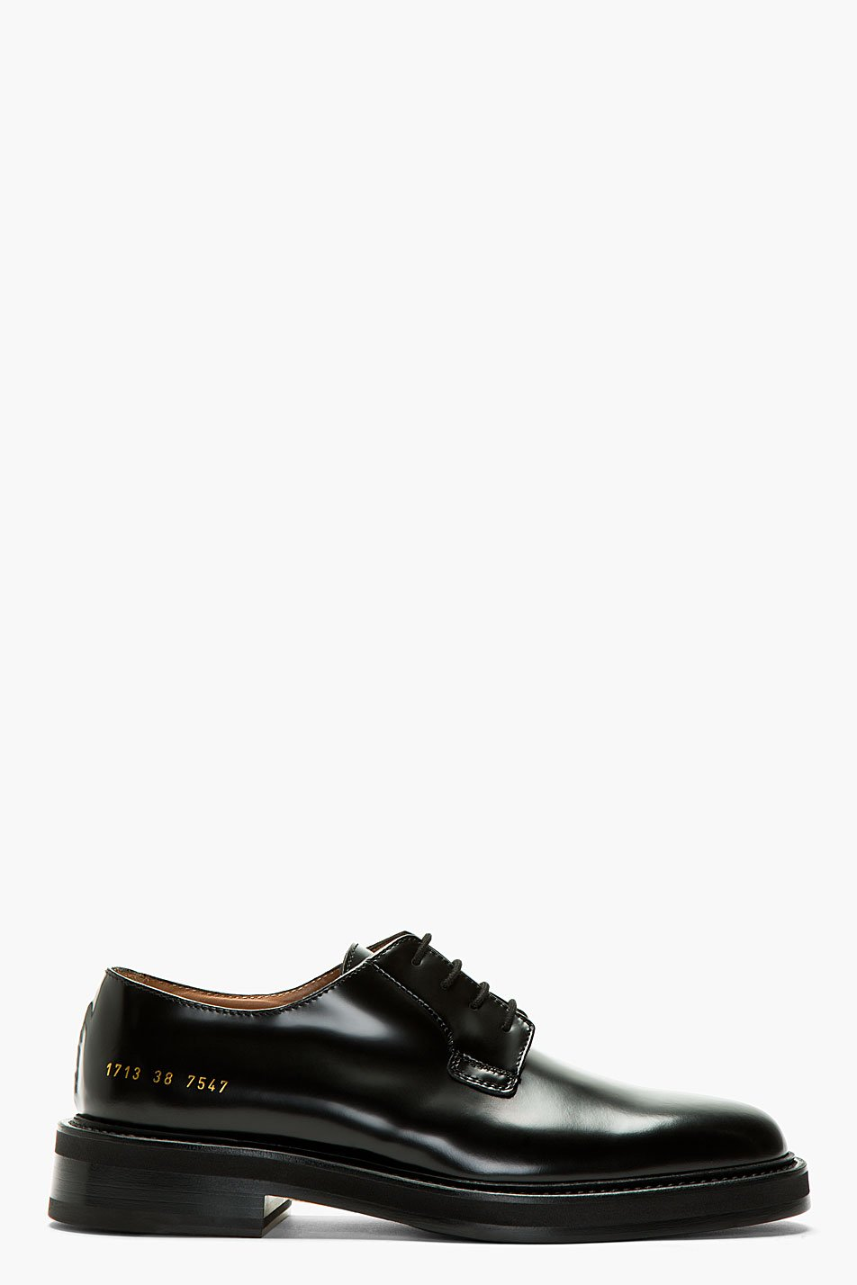 Common projects black leather cadet derbys