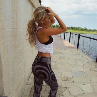 pants running stripes leggings black white yoga pants workout leggings athleta black and white striped yoga pants