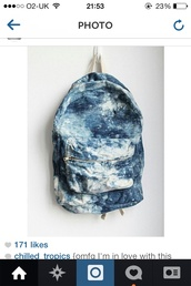 bag,acid wash,tumblr,cute,coral,amazing,hot,pretty,blue,coat,cute tumblr acid wash  galaxy backpack,blue jeans,white,backpack,want that,cool,dark blue,fall in love with this