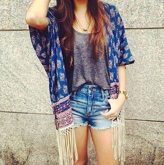 cardigan gray blouse hippie kimono denim shorts