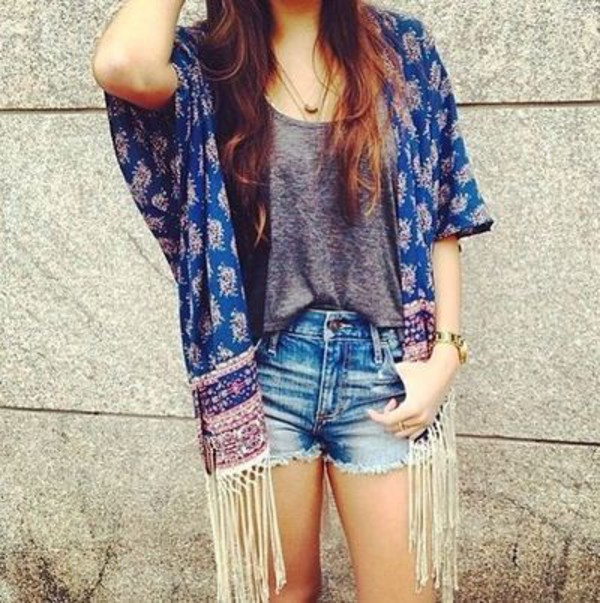 cardigan gray blouse hippie kimono denim shorts