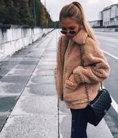 coat,fur,fur coat,brown,teddy,teddy jacket,jacket,fur jacket